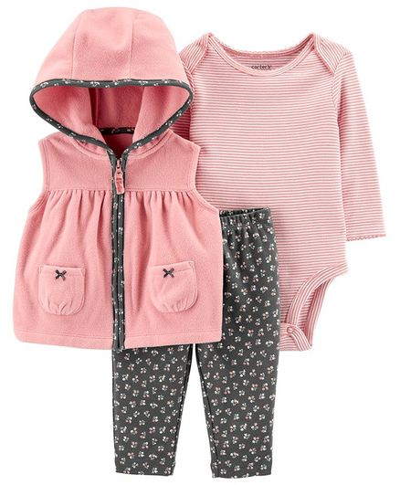 Carter's 3-Piece Bow Little Vest Set - Pink