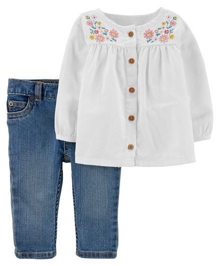 Carter's 2-Piece Embroidered Peasant Top & Denim Pant Set - White