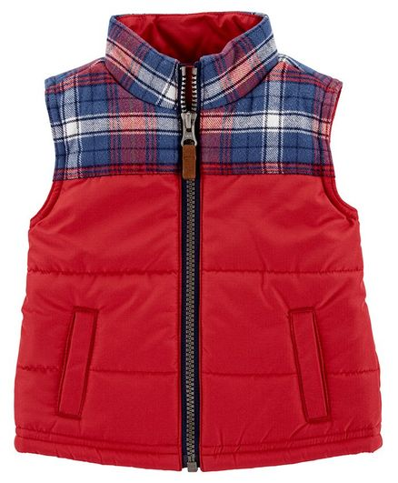 Carter's Plaid Zip-Up Vest - Red