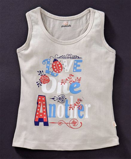 Olio Kids Sleeveless T-Shirt Love One Another Print - Cream