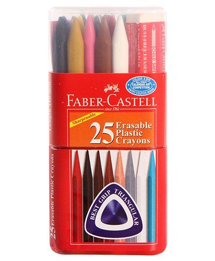 For StudentsFaber Castell 24 Grip Erasable Crayons Extra Smooth Triangular Shape pen pencil