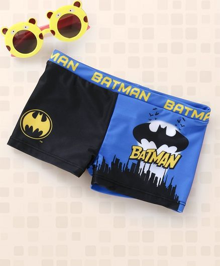 a255a8e75516b Buy DC Comics Batman Swimming Trunks Black Blue for Boys (4-6 ...