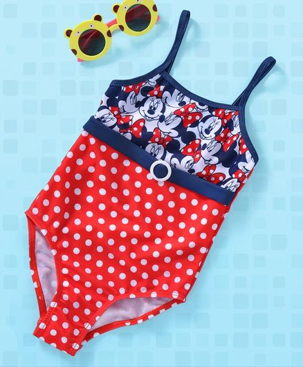 bd7bfb7e5e5dd Buy Disney Singlet Swim Suit Minnie Mouse Print Red Blue for Girls (4 ...