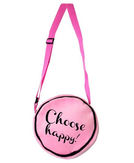Ultra Soft Toy Sling Bag Text Print Pink - 8 Inches