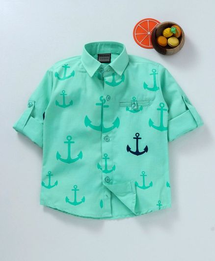Rikidoos All Over Anchor Print Full Sleeves Shirt - Green