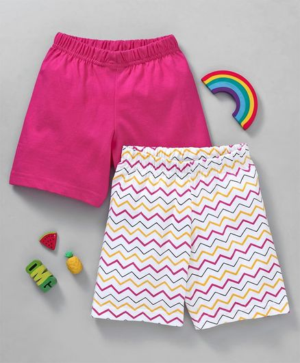 191bfeab5fb8 Buy Babyhug Solid & Printed Cotton Shorts Pack of 2 Dark Pink White ...