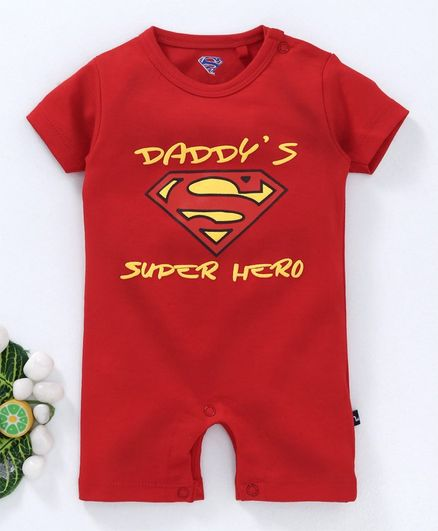 469b78268 Buy Moms Love Half Sleeves Romper Superman Print Red for Boys (9 ...