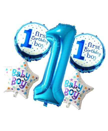 Shopperskart Happy First Birthday Foil Balloon Blue - Pack of 5