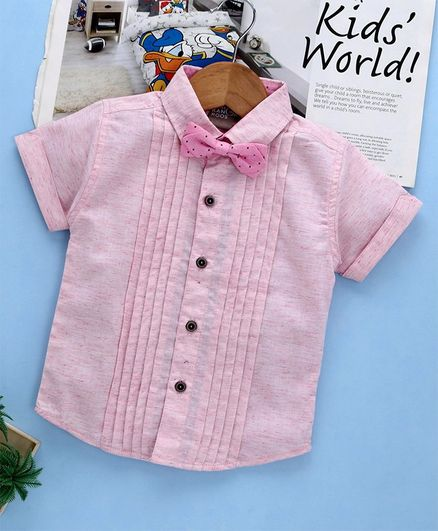 Little Kangaroos Half Sleeves Solid Color Shirt With Bow - Pink
