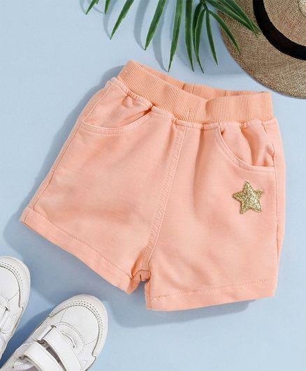 Little Kangaroos Shorts With Star Applique - Peach