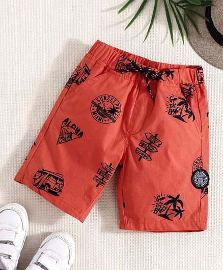 Little Kangaroos Shorts Going To The Beach Print - Orange