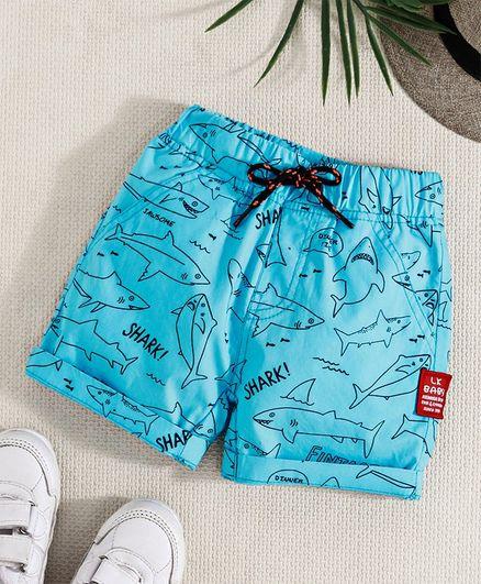 16844648fc1a0 Buy Little Kangaroos Shorts Shark Print Aqua Blue for Boys (3-6 ...