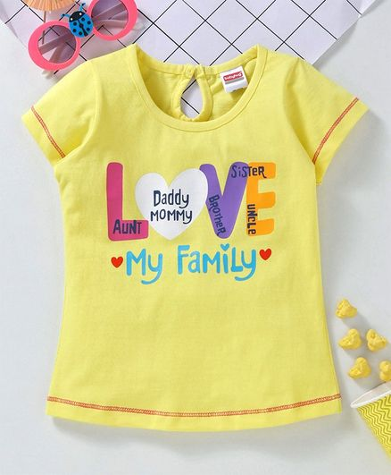 Buy Babyhug Short Sleeves Tee Love Print Yellow For Girls 4 5 Years