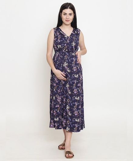 5fb327c93832a0 Fashionably Pregnant Flower Print Sleeveless Maternity Maxi Dress - Purple