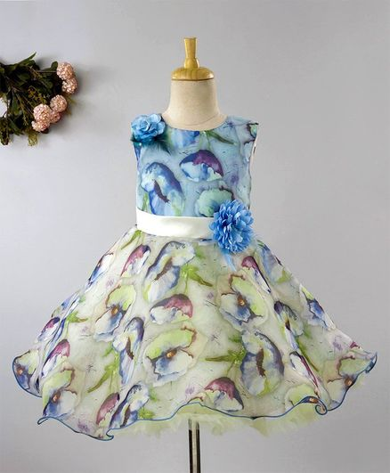c3c5a389687b4 Buy Maalka Sleeveless Flower Print Dress Light Green for Girls (3-4 ...