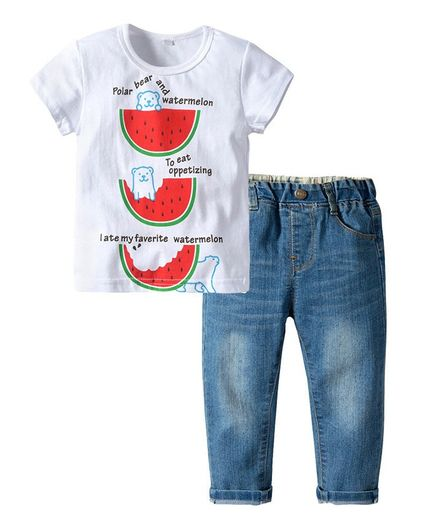 d6c26d22 Pre Order - Awabox Watermelon Print Short Sleeves Tee & Bottom Set - White  & Red