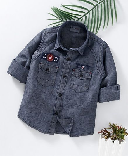Dapper Dudes Embroidered & Patch Detailed Full Sleeves Shirt - Grey