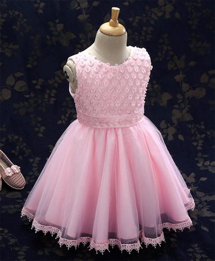 5ed7ebe34 Buy Kookie Kids Party Wear Sleeveless Frock Bead Detailing Pink for ...