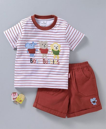 93607ee023a55 Buy Child World Striped Half Sleeves Top & Bottom Set Brown for ...