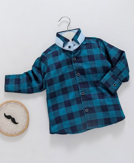 Knotty Kids Checkered Full Sleeves Shirt - Blue