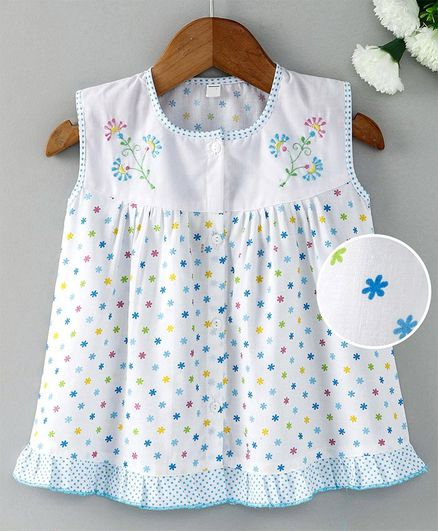 97283cefc33a Enfance Core Flower Embroidery Sleeveless Dress - Blue. 0 to 3 Months ...