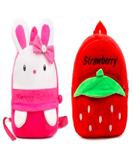Frantic Velvet Nursery Bags Bunny & Strawberry Design Pink Red Pack of 2 - Height 14 inches Each