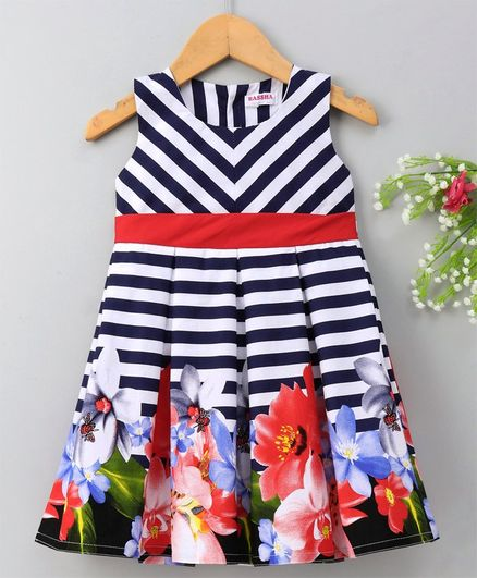 973c22641f03 Buy Rassha Striped & Flower Print Sleeveless Dress Navy Blue for ...