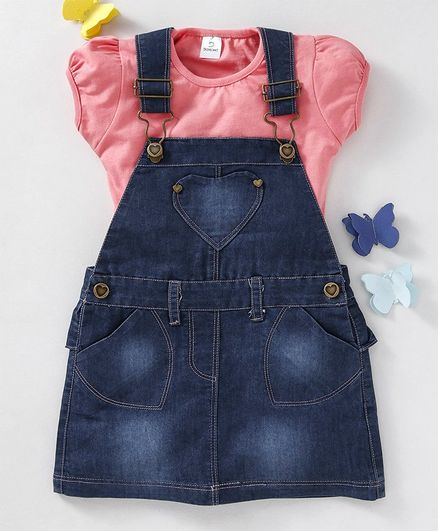 511c958dc89 Doreme Denim Dungaree Frock With Short Sleeves Tee - Navy Peach