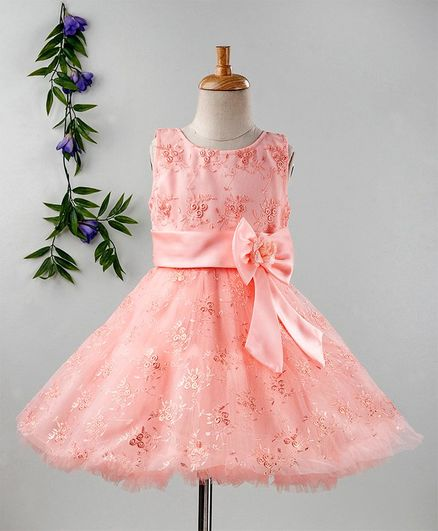 55b529c65f Buy Babyhug Party Wear Embroidered Bodice Frock Peach for Girls (3-6  Months) Online in India, Shop at FirstCry.com - 2572201