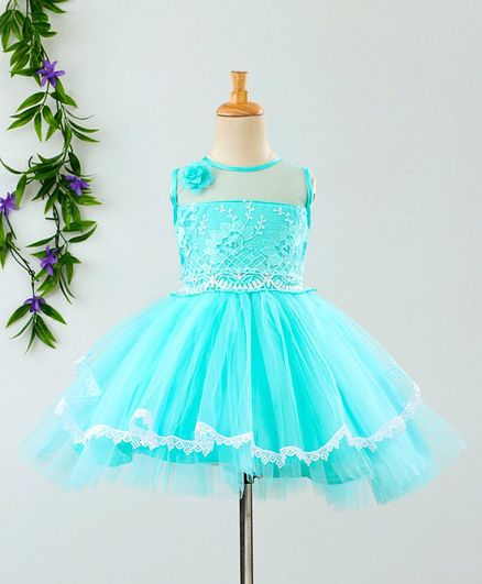 e1736c2d714 Buy Babyhug Sleeveless Party Frock Floral Embroidery Blue for Girls ...