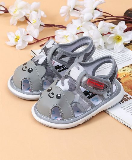 Cute Walk by Babyhug Sandals Puppy Design - Grey