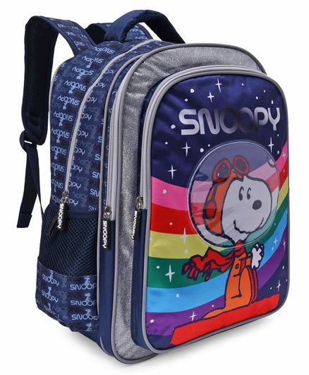 Peanuts School Bag Snoopy Print Navy - 16 Inches