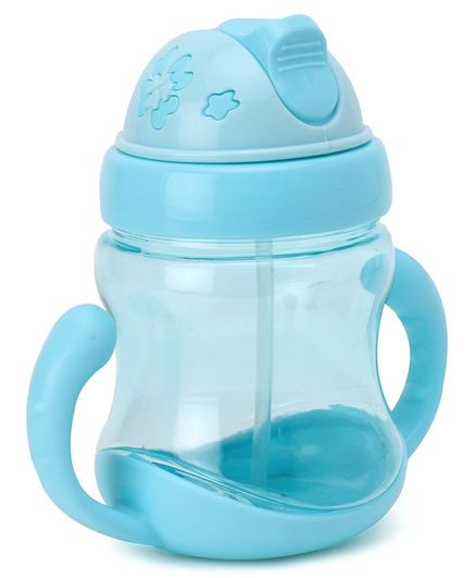 Twin Handle Sipper Cup With Straw Blue - 320 ml