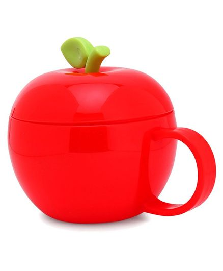 Apple Shaped Polypropylene Cup With Lid Red - 380 ml
