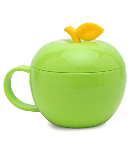 Apple Shaped Polypropylene Cup With Lid Green - 380 ml