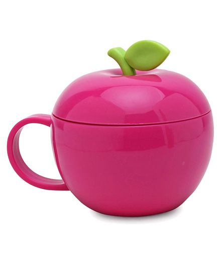Apple Shaped Polypropylene Cup  With Lid Dark Pink - 380 ml