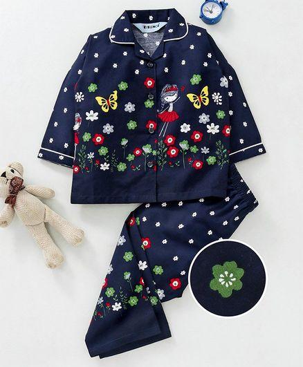 4082e72de0be Buy Enfance Core Flower Print Full Sleeves Night Suit Navy Blue for ...
