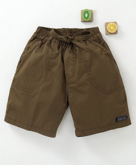 Olio Kids Solid Shorts With Drawstrings - Brown