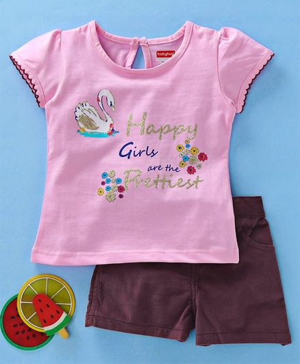 Babyhug Short Sleeves Tee & Corduroy Shorts Text Print - Pink Magenta