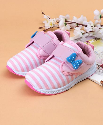009a6207a2a Buy Cute Walk by Babyhug Striped Casual Shoes With Bow Motif Light Pink for  Girls (12-18 Months) Online, Shop at FirstCry.com - 2583746