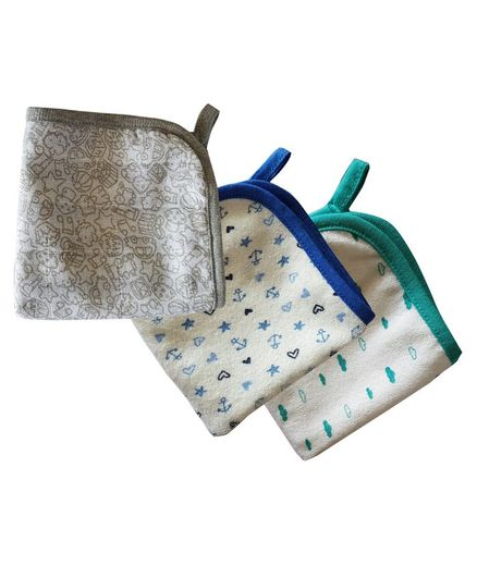 Kadambaby Wash Cloth Multiprint Pack of 3 - Blue Green Grey