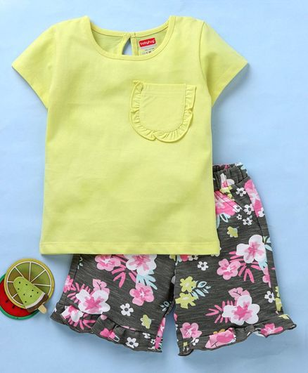 Babyhug Solid Tee With Floral Frilled Shorts - Multicolour