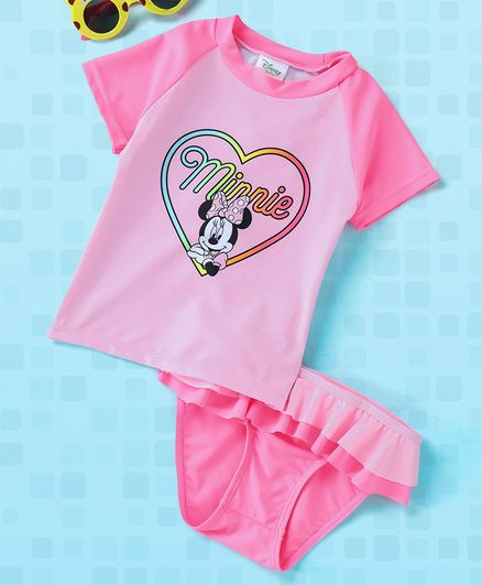 e485ba7ab6bb4 Fox Baby Half Sleeves Two Piece Swimsuit Minnie Mouse Print - Pink. 6 to 12  Months ...