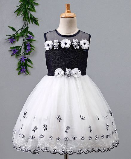 698ef215e2 Buy Babyhug Sleeveless Frock With Net Flare Black White for Girls (6-12  Months) Online in India, Shop at FirstCry.com - 2586706