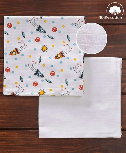 Babyhug 3 in 1 Premium Baby Muslin Wrapper Cum Swaddle Rocket Print Pack of 2  - Multicolour