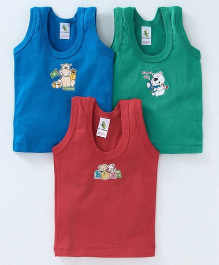 Buy Cucumber Sleeveless Vests Animal Print Pack of 3 Blue Red Green for  Boys (3-6 Months) Online in India, Shop at FirstCry com - 2588506