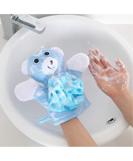 Syga Teddy Face Bath Glove - Blue