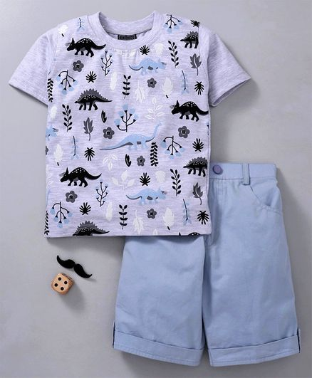 Rikidoos Half Sleeves Dinosaur Printed Tee & Shorts Set - Grey & Blue