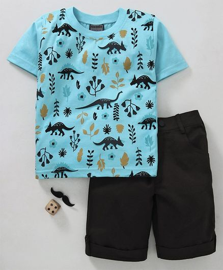 Rikidoos Half Sleeves Dinosaur Printed Tee & Shorts Set - Blue & Black