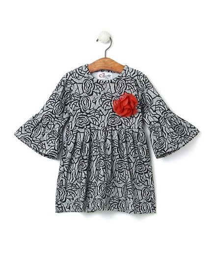 08e662b62f545 Buy Mandy Rose Print Flare Sleeves Dress Grey for Girls (3-4 Years) Online  in India, Shop at FirstCry.com - 2592362